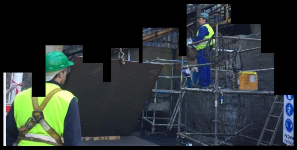 Reparación de Muro y tapa superior en Granulacion, incluso refuerzos metálicos.